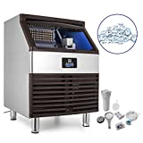 Appliances : VEVOR 110V Commercial Ice Maker 600W Stainless Steel Ice Cube Maker Machine 264LBs Ice Making Machine for Home Supermarkets Cafes Bakeries Bars Restaurants Snack Bars (Production 264lbs/24h)