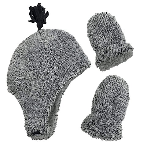 N'Ice Caps Little Boys and Baby Sherpa Lined Micro Fleece Pilot Hat Mitten Set (Fuzzy Grey Infant, 6-18 Months)
