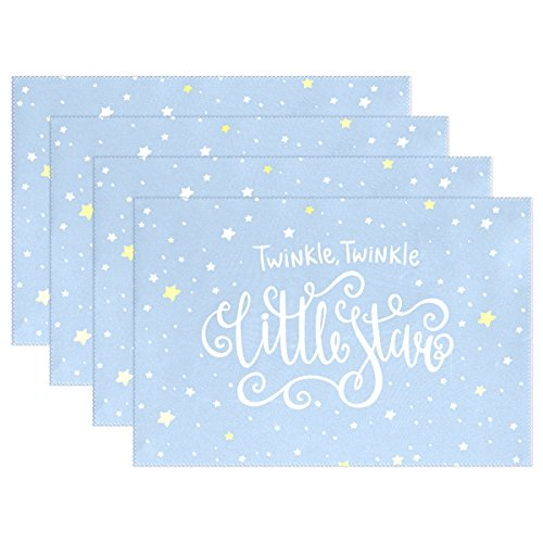 18' Rectangular Tray (U LIFE Cute Cartoon Merry Christmas Twinkle Little Stars Thick Tray Mat Plate Place Mats Placemats for Kitchen Dining Table 12 x 18 Inch Machine Washable Polyester Fabric Set of 4 or 6 White)