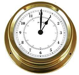 Ambient Weather Fischer 1508U-45 Polished Brass Marine Weather Monitoring Quartz Clock
