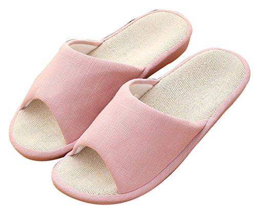 Pantofole Blubi Da Donna Estate Color Caramella Lino Antiscivolo Pantofole Carine Rosa