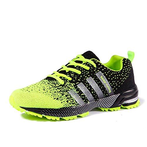 Moda Zapatos Deportivos Al Aire Libre, Verano Y Otoño Zapatillas De Tela De Malla Para Senderismo Correr Escalada Respirable y Antideslizante 8702 fluorescent green