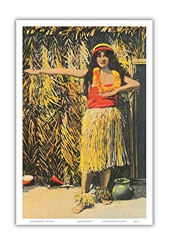 - Pacifica Island Art Young Hawaiian Hula Girl - Hawai'i - Vintage Hawaiian Color Postcard c.1930s - Hawaiian Master Art Print - 12 x 18in
