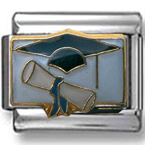 Graduating Cap and Diploma Italian charm