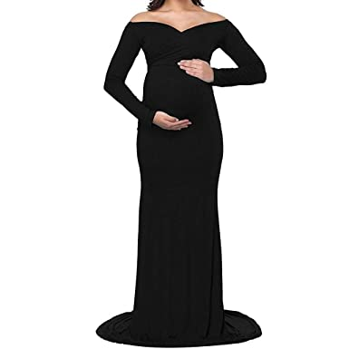 fc7a39f5334e2 Maternity Off Shoulder Fitted Gown Women's Cross-Front V Neck Ruched Long  Sleeve Maxi Photography