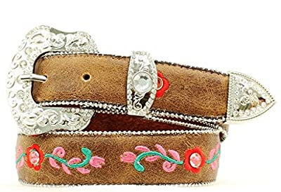 M&F Western Girl's Roses Belt (Little Kids/Big Kids) Brown 28