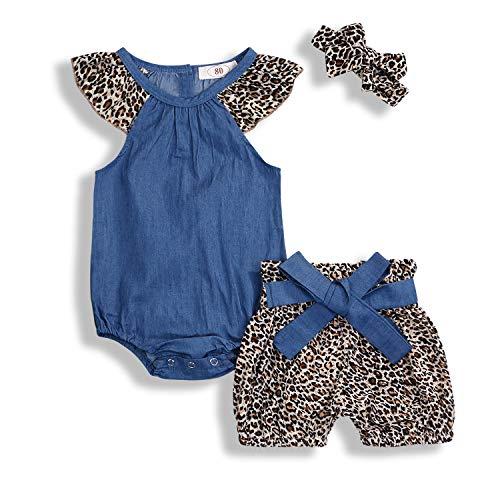 KCSLLCA Baby Girls Shorts Set Denim Ruffle Sleeve Top + Leopard Print Bow Bottoms + Headband 3Pcs Outfits (Leopard, 80/6-12 -