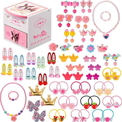 Gejoy 80 Pieces Girls Dress Up Accessories with Jewelry Box Girls Princess Jewelry, Necklace, Bracelet, Rings, Clip on Earrings, Hair Clips, Hair Ties, Mini Hair Claws (Style 1)