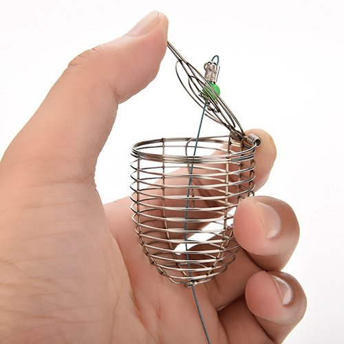 (Afco Fishing Tackle Lure Cage,Stainless Steel Wire Fish Bait Basket size 5cm (Silver))
