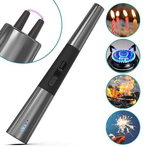 Usb Cigarette Electronic - Klearlook USB Lighter Candle Lighter Electronic Arc Coil Lighter Rechargeable Flameless Windproof Safety Switch Portable for Cigarettes Candle Gas Stove Camping Cooking BBQ Fireworks [Nickel Black]