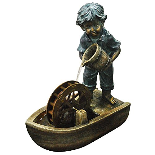 Alpine Corporation USA1166 Boy w/Bucket Boat Fountain, 24 Inch Tall, Brown