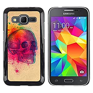 LECELL--Funda protectora / Cubierta / Piel For Samsung Galaxy Core Prime SM-G360 -- Colorful Explosion Skull Butterfly Skull --