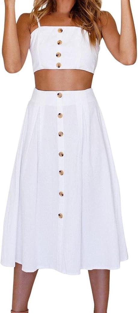 Vestidos MujerVestidos Mujer Verano Conjunto de Falda Mujer Vacaciones Bowknot Encaje Playa Botones Tops Chaleco y Falda Conjuntos Vestido de Playa