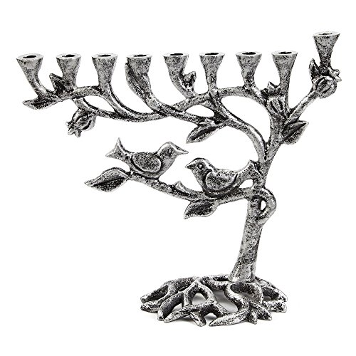 (Ner Mitzvah Vintage Aluminum Candle Menorah - Fits All Standard Chanukah Candles - Tree of Life Design with Antique Silver Finish)