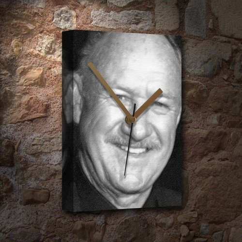 Gene Hackman Signed (GENE HACKMAN - Canvas Clock (LARGE A3 - Signed by the Artist) #js001)