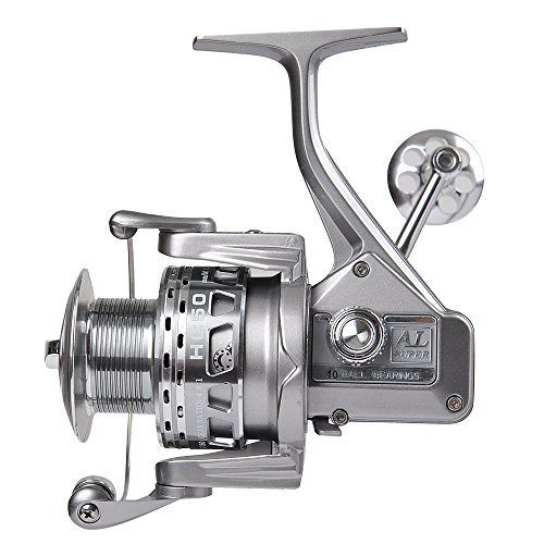 Fiblink Metal Spinning Fishing Reel Left/Right Retrieve with 4.8:1 Gear Ratio 9+1 Ball Bearings for Spinning Rod in Inshore Saltwater Boat Freshwater Fishing (5000Series)