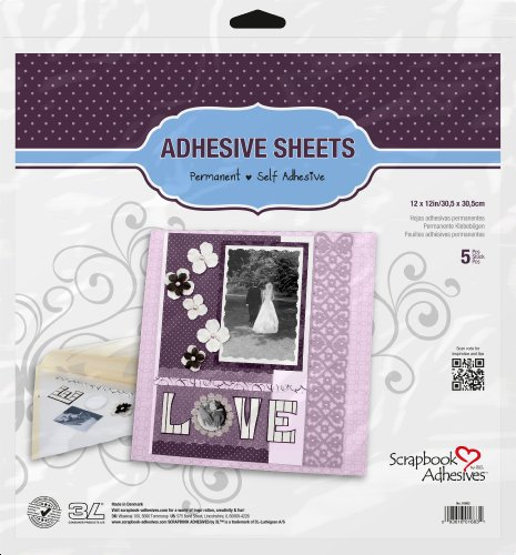 3L Scrapbook Adhesives Adhesive Sheets, 12-Inch x 12-Inch, 5-Pack