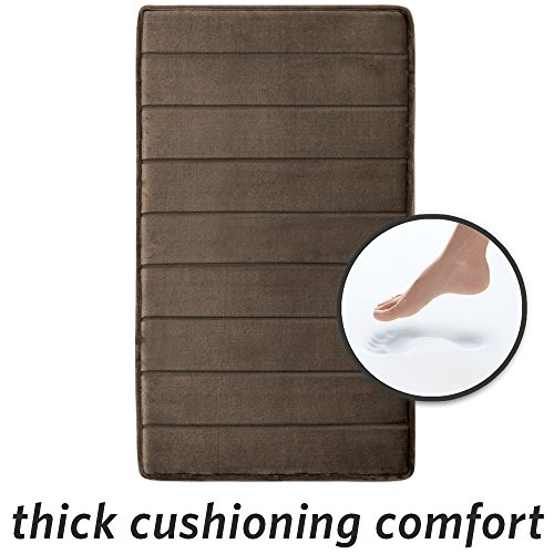 Walnut Bath - MICRODRY 10892 Softloft Memory Foam Bath Mat Skid Resistant 21x34, 21 x 34, Walnut