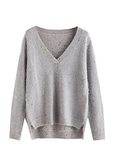 Fleck Jumper (Floerns Women's Stepped Hem Fluffy Fleck Jumper Pullover Knitted Sweater)