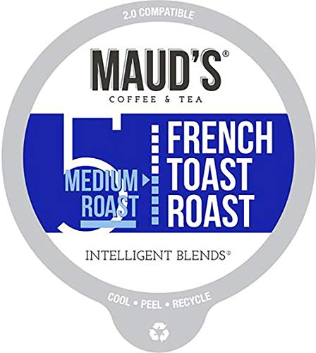 Maud's French Toast Flavored Coffee (French Toast Roast), 60ct. Recyclable Single Serve Coffee Pods - Richly Satisfying Arabica Beans California Roasted, K-Cup Compatible Including 2.0