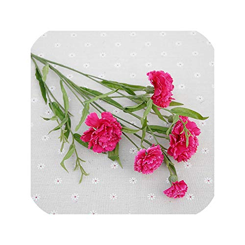 6 Head Artificial Carnation Flower Bouquet Simulation Small Carnation Silk Fake Flower Branch Home Garden Decoration Floral Gift,Rose Red