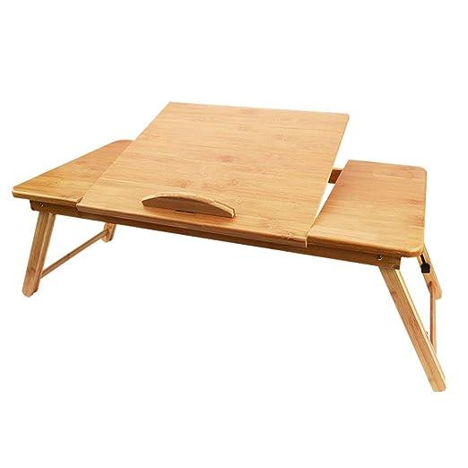 La Mesa de Madera portátil de bambú de YHYS, un pequeño Escritorio ...