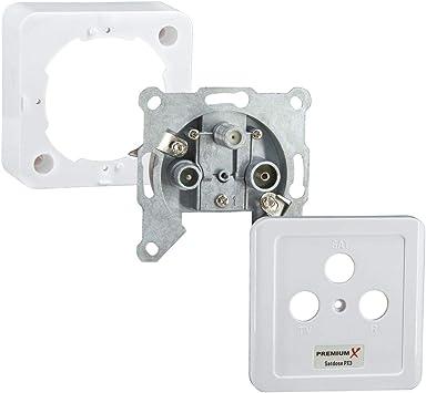 1 Fach Antennendose Anschlussdose Telefondose SAT Durchgang Dose Satdose