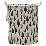 Sea Team 19.7'' x 15.7'' Large Sized Folding Cylindric Waterproof Coating Canvas Fabric Laundry Hamper Storage Basket with Drawstring Cover, Tree