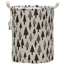 Sea Team Folding Cylindric Waterproof Coating Canvas Fabric Laundry Hamper Storage Basket with Drawstring Cover, Tree