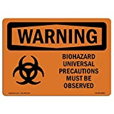 OSHA Warning Sign - Biohazard Universal with Symbol | Choose from: Aluminum, Rigid Plastic or Vinyl Label Decal | Protect Your Business, Construction Site, Warehouse & Shop Area | Made in The USA
