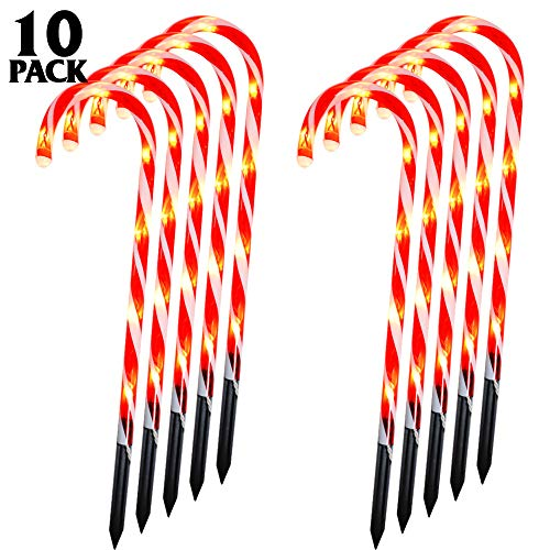 Whonline Christmas Candy Cane Pathway Markers Set of 10 Candy Cane Lights Christmas Decoration Lights for Patio Yard Paths Fences Indoor Outdoor (60 Bulbs) (Solar Powered Decorations Christmas)