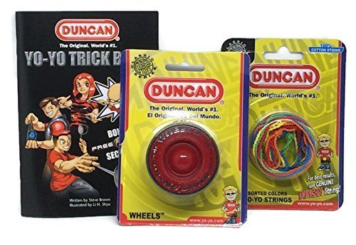 Duncan YoYo Kit - Red Wheels Yo-Yo, Multi-Color Yo-Yo String 5 Pack, and Yo-Yo Trick Book