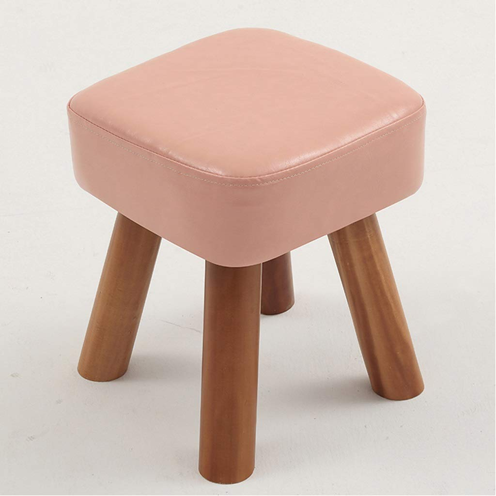 LLSDLS Stool Solid Wood Dining Stool Creative Sofa Stool Personality Home Low Stool Fashion Dressing Stool (Color : Pink)