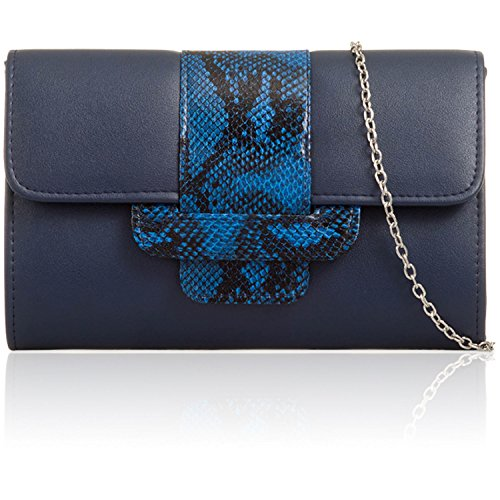 Navy Snake Leather Faux Ladies Designer Clutch Medium Animal Evening Bag Print Women London Xardi qUOER