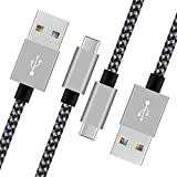 USB Type C to USB 2.0 Cable AILANSI Series-Nylon Braided USB C Fast Charging Cable(2A) for Samsung Galaxy S8,Nexus 5X/6P,OnePlus 2/3T,Huawei P10,Nintendo Switch-6ft/2m(2PACK BlackGray)