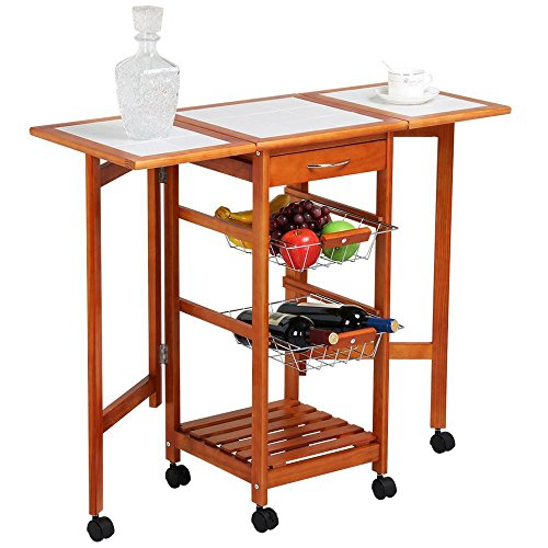 Yaheetech VD-50183HW 4-Tier Portable Drop Leaf Kitchen Island on Wheels White Tile Top with Drawers and Stainless Steel Baskets, Brown