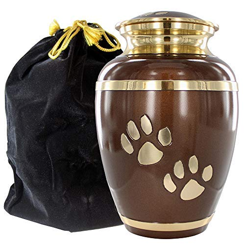 Engravable Pet Urns - Always Faithful Small Brown And Gold Pet Urns For Dogs Ashes And Cats Too - Find Peace And Comfort With This Quality Dog Or Cat Pet Urn - 6 Inches Tall Holds Remains Up To 42 Lbs - With Velvet Bag