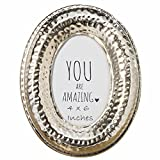 Whole House Worlds The Crosby Street Oval Photo Frame, Hammered Silver Metal, 4 x 6 Picture Window, Flip Out Easy Prop Stand, Overall Size is 6 3/4 x 8 3/4 Inches, by WHW