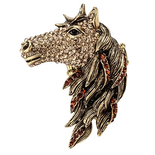 (Szxc Jewelry Women's Crystal Big Horse Head Stretch Statement Ring Silk Scarf Clasp Clip Buckle)