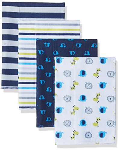 Safari Flannel - Gerber Baby 4 Pack Flannel Burp Cloth, Safari, One Size