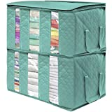 Sorbus Foldable Storage Bag Organizers, 3 Sections, Great for Clothes, Blankets, Closets, Bedrooms, and More, 2-Pack (Teal)