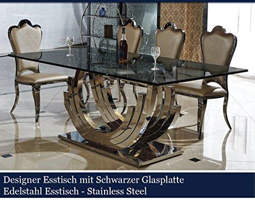 Esstisch schwarz glas  Designer Esstisch Schwarz Edelstahl Esszimmer Tisch Glastisch Glas ...