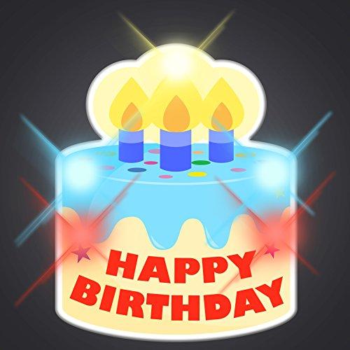 Led Flashing Pins (Happy Birthday Cake Light Up Flashing LED Lapel Pins (Set of)