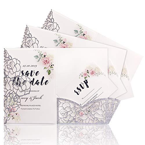 HIGHYI Laser Cut Wedding Invitation Card-Sliver Glitter Paper 3 Folds Greeting Card For Engagement Birthday Baby Shower Dinner (DIY Blank Inner Sheet) -