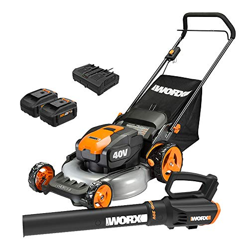 WORX WG960 20-inch 40V(5.0Ah) WG751 Cordless Lawn Mower and WG547.9 Power Share Cordless Turbine Blower Battery and Charger Included