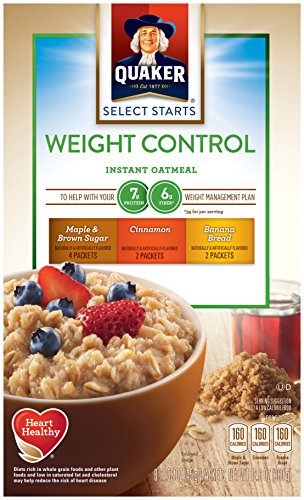 Quaker Instant Oatmeal Weight Control, Variety Pack, Breakfast Cereal, 8 Packets Per Box ,12.6 Ounce (Pack of 4) (Calories In A Slice Of Banana Nut Bread)