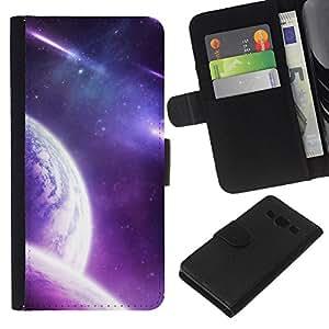 LECELL--Cuero de la tarjeta la carpeta del tirón Smartphone Slots Protección Holder For Samsung Galaxy A3 -- Purple Galaxy Planet --