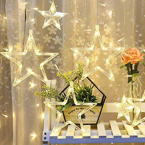 138 LED 12 Stars Curtain String Lights Waterproof