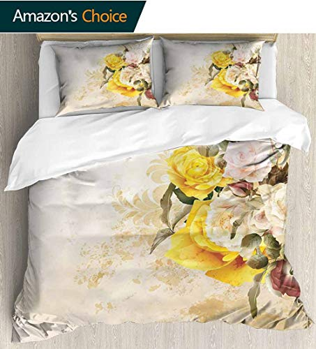 - shirlyhome Floral Full Queen Duvet Cover Sets,Flower Bouquet Flourishing Rose Petals Botany Shabby Chic Design Kids Bedding-Does Not Shrink or Wrinkle 104