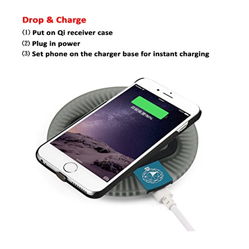 handheld Charger supplies for iPhone 6 Plus 6S Plus Antye 2 in 1 Sleep Friendly Qi handheld Charging Pad and especially slimmer handheld Receiver instance for iPhone 6 Plus iPhone 6S Plus Black Desktop Chargers Docks
